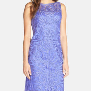 SUE WONG Embroidered Sheath Periwinkle 4 #211